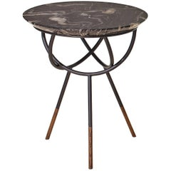 Atlas Oil-Rubbed Bronze Side Table with Black Marble Top by AVRAM RUSU STUDIO