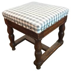 19th Century Upholstered Stool with Nailheads