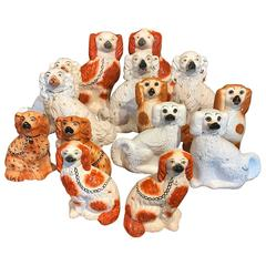 Collection of Seven Pairs Staffordshire Spaniels