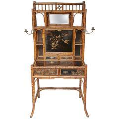 Rare 19th Century English Bamboo Desk Secretary