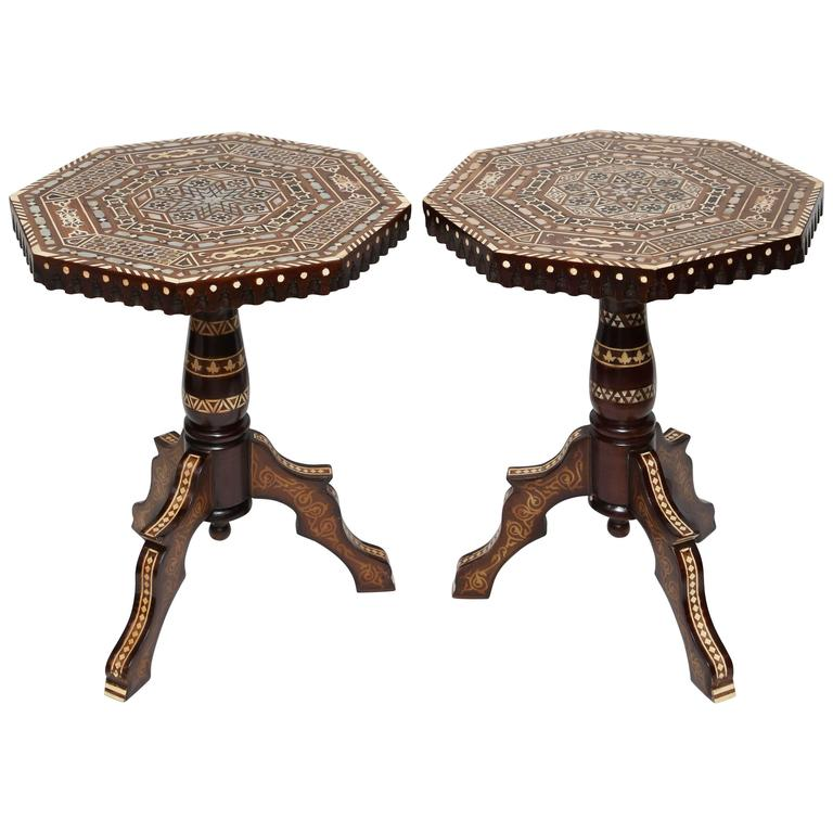 Superb Pair of Vintage Syrian Mother of Pearl Octagonal Side Tables 1