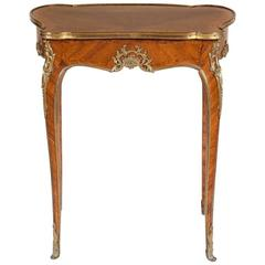 Petite Mid-19th Century Louis XV Style French Marquetry Writing Table