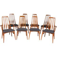 Set of 8 1960s Teak Eva Chairs by Neils Koefoed