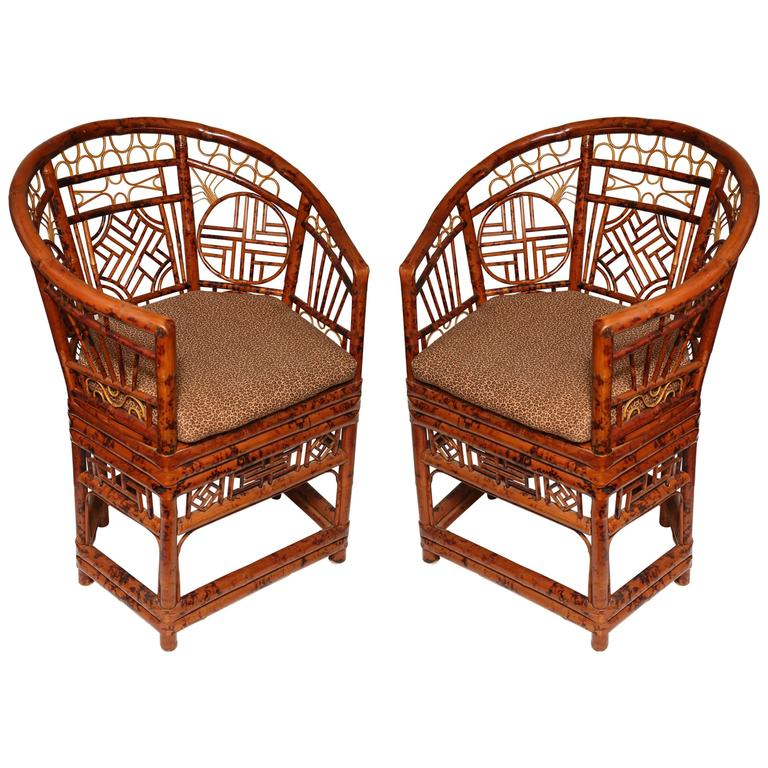 pair of unusual chinese brighton bamboo barrel back chairs. Black Bedroom Furniture Sets. Home Design Ideas