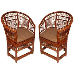 Pair of Unusual Chinese  Brighton  Bamboo Barrel Back Chairs
