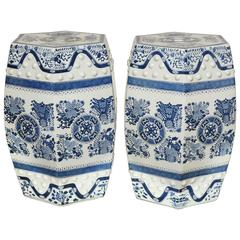 Pair of Blue and White Garden Seats