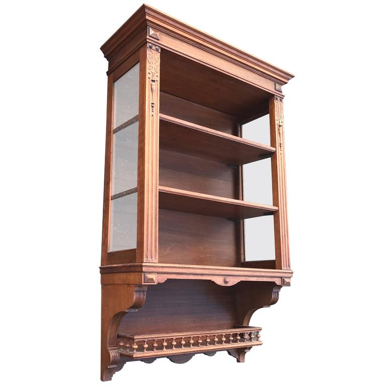 19th Century Open Vitrine Display Hanging Cabinet By Royal H.P. Mutters U0026  Zn For Sale