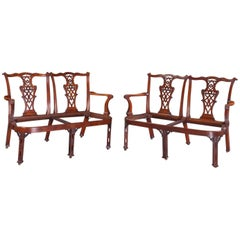 Impressive and Highly Attractive Pair of Walnut Double Chair-Back Settees