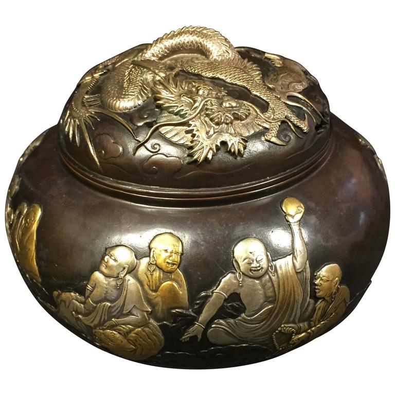 Fine Silver & Gold Bronze Buddha &  Dragon Censer, 1930 Mint Signed & Boxed For Sale