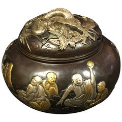 Fine Silver & Gold Bronze Buddha &  Dragon Censer, 1930 Mint Signed & Boxed