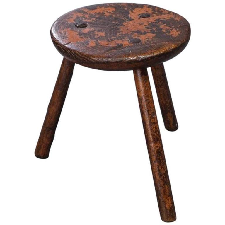 Red Painted Stool At 1stdibs