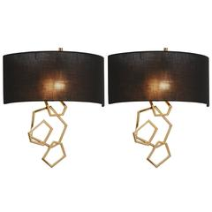 Pair of European Modern Gold, Brass and Black Shade Wall Sconces