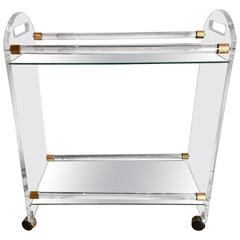 1970s American Modern Lucite, Mirror and Brass Bar Cart
