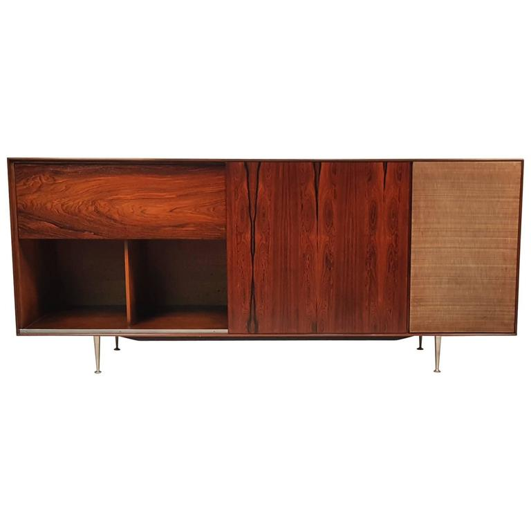 George Nelson Brazilian Rosewood Thin Edge Stereo Cabinet For Sale
