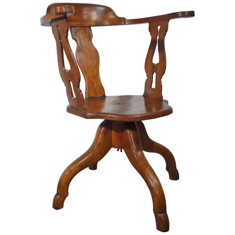 Antique Italian Tuscan Barber Armchair Solid Walnut Circa 1840