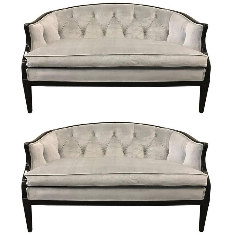 pair of regency style tufted back sofas for sale at 1stdibs. Black Bedroom Furniture Sets. Home Design Ideas
