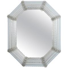 Italian Octagonal Murano Glass Mirror