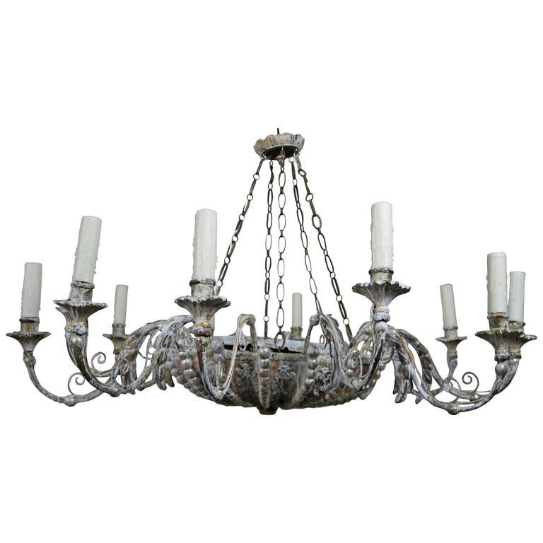 Twelve-Light Italian Silvered Wood and Metal Chandelier