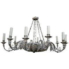 Twelve-Light Italian Silvered Wood and Metal Chandelier