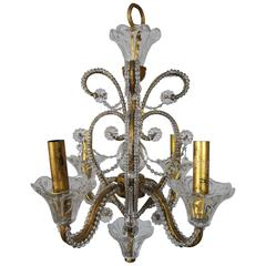 Mid-Century Italian Crystal Beaded Chandelier