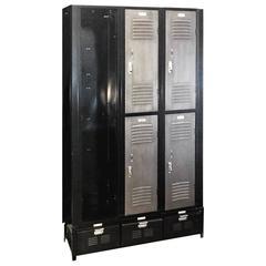 Vintage Column Locker Unit Refurbished in Black and Silver