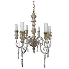 Six-Light Painted Wood and Iron Italian Chandelier