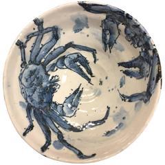 Important Japanese Hand-Painted Blue and White Crab Bowl Signed Kusube Yaichi
