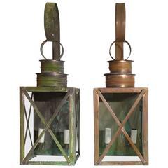 Pair of Elegant Wall Copper Lanterns