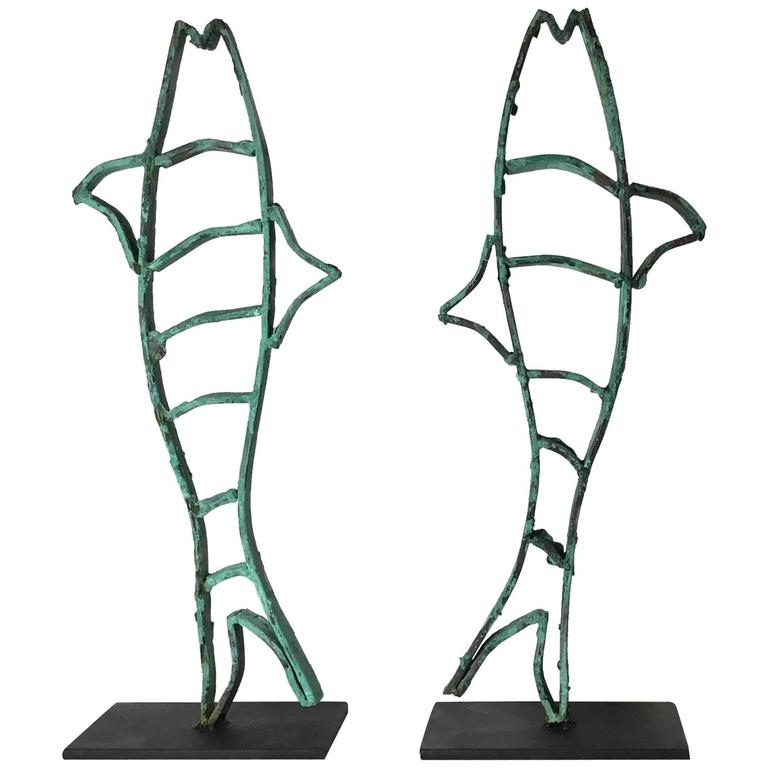 Vintage Pair of Copper Sculptures