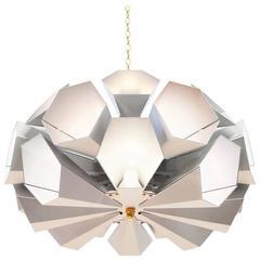 European Modern Aluminium and Brass Round Twenty-Four Led Lamp Chandelier