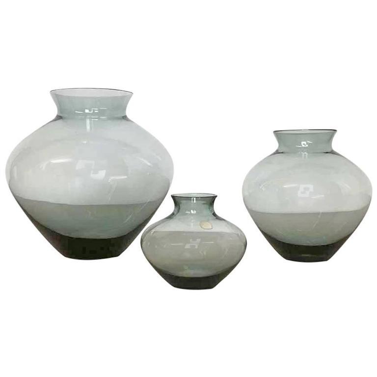 Vintage 1960s Set Of Three Heart Vases Turmaline By Wilhelm