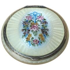Sterling Silver Guilloche Enamel Compact Case, with a Garland of Flowers