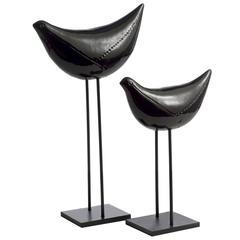 Pair of Black Bird Sculptures by Aldo Londi
