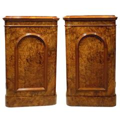 Pair of Burr Walnut Victorian Period Antique Bedside Cabinets