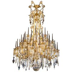 Monumental 19th Century Chandelier with Crystal Bells, Forty Four-Light Points