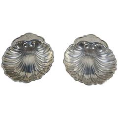 Sterling Silver Shell Shaped Master Open Salts, Pair