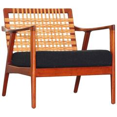 Beautiful Danish Lounge Easy Chairs with Woven Cane Back