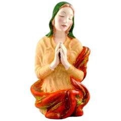 Keramos, Vienna, Praying Woman Porcelain Figure, 1940s