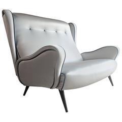 Stunning Vintage 1950s Italian Sofa Settee Mid¬-Century Blue Satin Upholstered