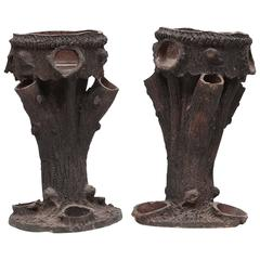 19th Century Pair of Terracotta Planters in the Form of Trees