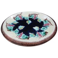 19th Century English Majolica Grapevine Motif Cheese Board or Bread Tray