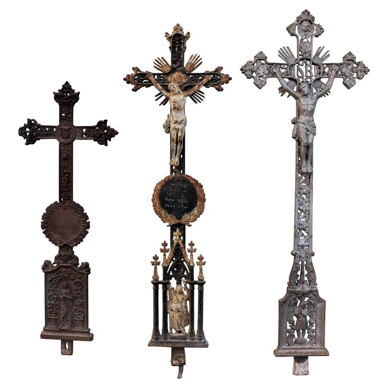 French Belle Epoque Castiron Large Crosses For Sale