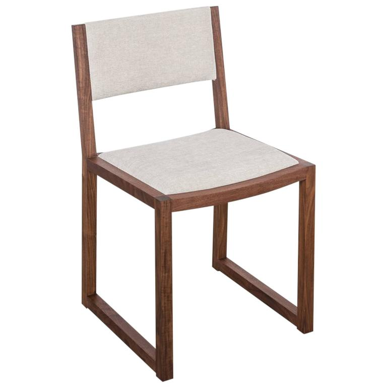 Balbo Dining Chair by Uhuru Design, Black Walnut with Upholstered Seat and Back For Sale