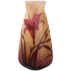 French Art Nouveau Cameo Glass Vase by Daum