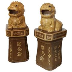 Unusual Large Pair of Chinese Porcelain Foo Dogs