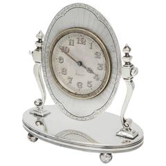 Rare Art Deco 8-Day Sterling Silver Swivel Table Clock on Ball-Footed Stand