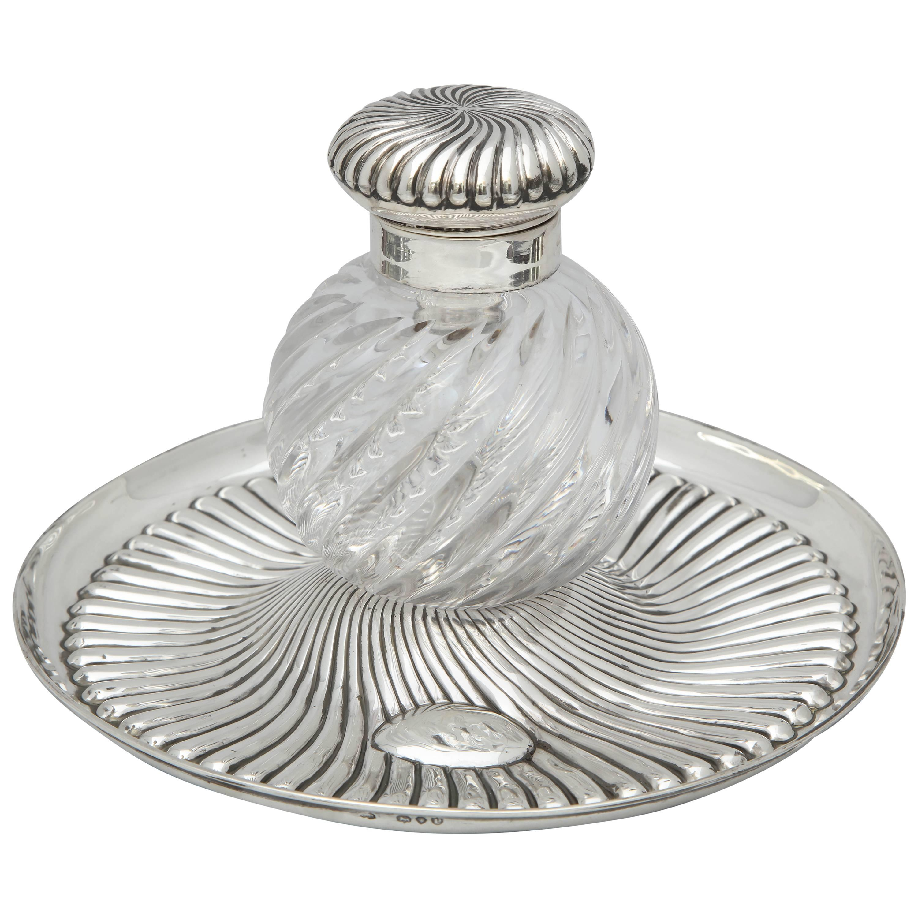Rare Very Large Unusual Victorian Sterling Silver-Mounted Inkwell on Stand