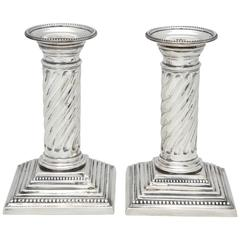 Pair of Edwardian Neoclassical Sterling Silver Column-Form Candlesticks