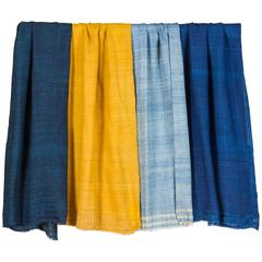 Mataxa Indian Raw Silk Throws or Shawls, Natural Indigo and/or Turmeric Dyes