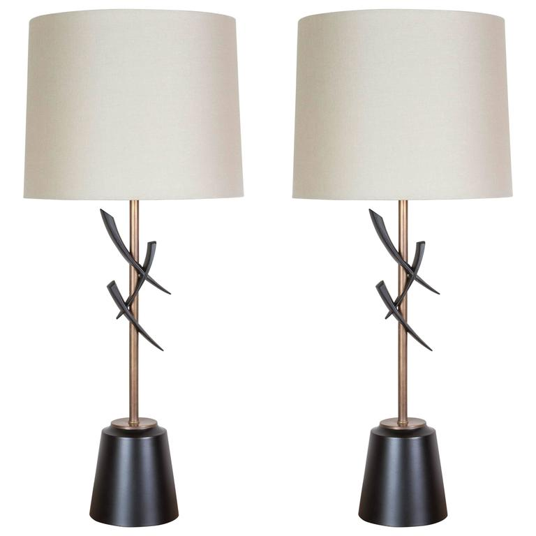 Pair of Japanese Style Table Lamps For Sale
